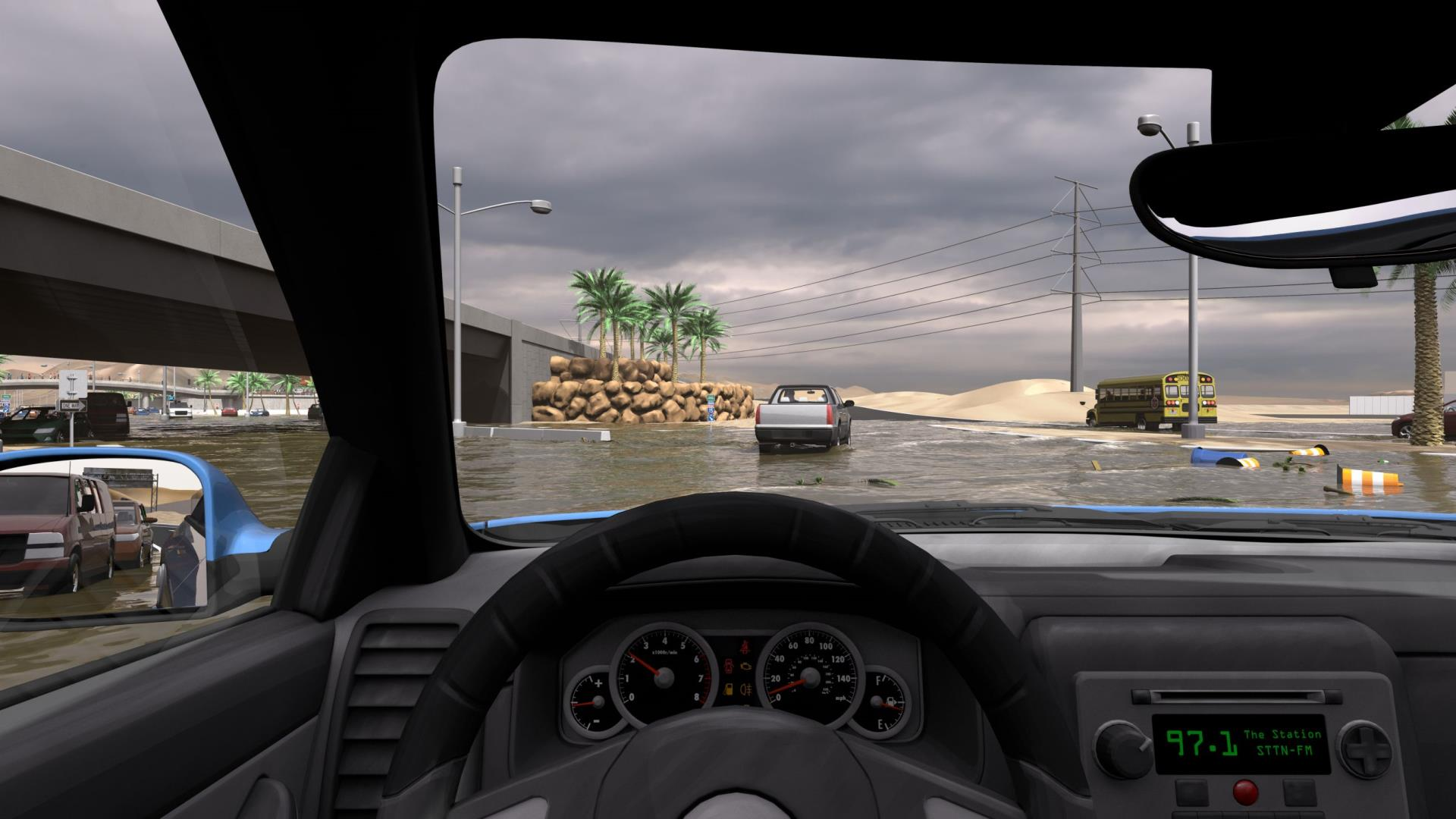 An animated image depicts a flooded roadway from inside the driver's seat of a car.